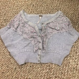 +FREE PEOPLE+ lavender sequin crop sweater